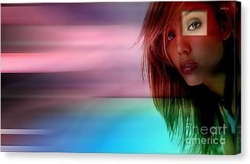 Original Jessica Alba Painting Canvas Print by Marvin Blaine