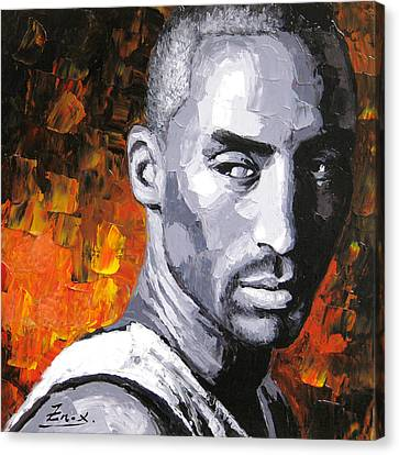 Original Palette Knife Painting Kobe Bryant Canvas Print by Enxu Zhou