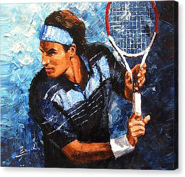 original palette knife painting Roger Federer Canvas Print by Enxu Zhou