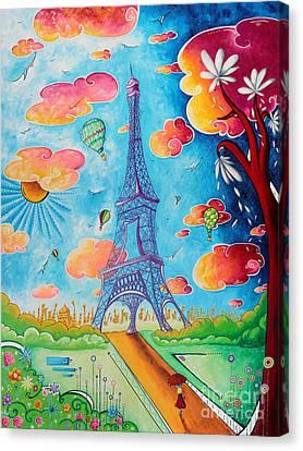 Original Paris Eiffel Tower Pop Art Style Painting Fun And Chic By Megan Duncanson Canvas Print by Megan Duncanson