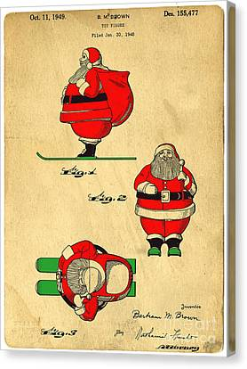 Original Patent For Santa On Skis Figure Canvas Print by Edward Fielding