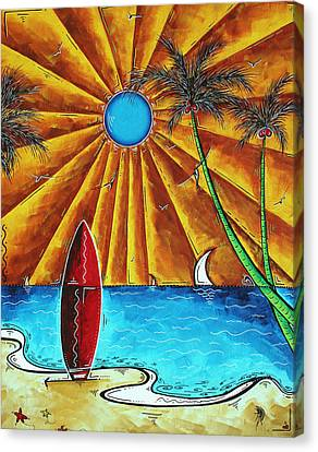 Original Tropical Surfing Whimsical Fun Painting Waiting For The Surf By Madart Canvas Print by Megan Duncanson