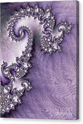 Ornate Lavender Fractal Abstract One  Canvas Print by Heidi Smith