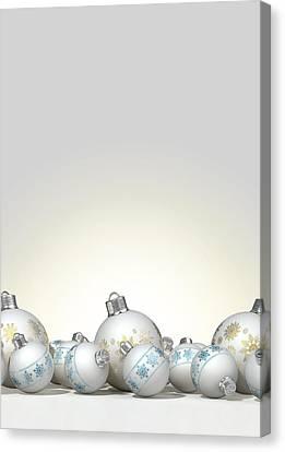 Ornate Matte White Christmas Baubles Canvas Print by Allan Swart
