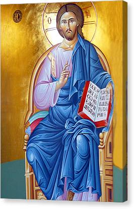 Orthodox Icon Of Jesus In Blue Canvas Print by Munir Alawi