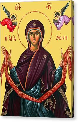 Orthodox Icon Of Mary Canvas Print by Munir Alawi