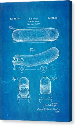 Oscar Mayer Wienermobile Patent Art 1954 Blueprint Canvas Print by Ian Monk