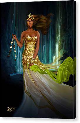 Oshun Behind The Falls Canvas Print by Ismail Ghafoor