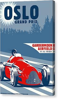 Oslo Grand Prix 1950 Canvas Print by Georgia Fowler