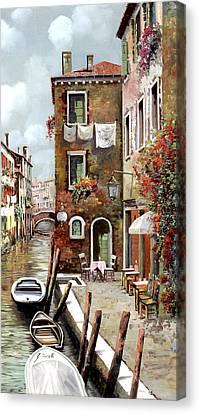 Osteria Sul Canale Canvas Print by Guido Borelli
