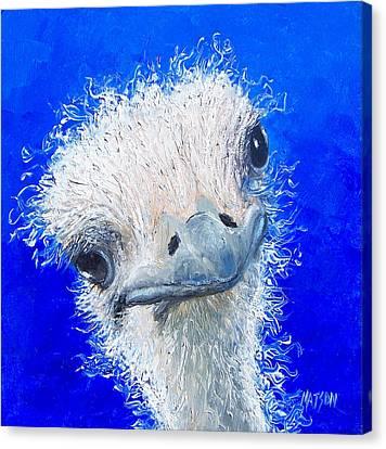 Ostrich Painting 'waldo' By Jan Matson Canvas Print by Jan Matson