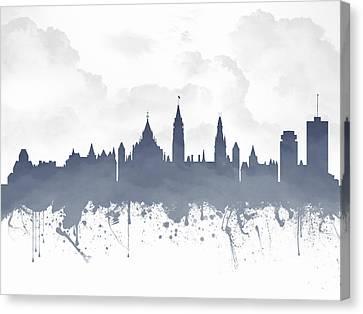 Ottawa Ontario Skyline - Blue 03 Canvas Print by Aged Pixel