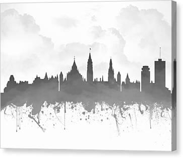 Ottawa Ontario Skyline - Gray 03 Canvas Print by Aged Pixel