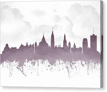 Ottawa Ontario Skyline - Purple 03 Canvas Print by Aged Pixel