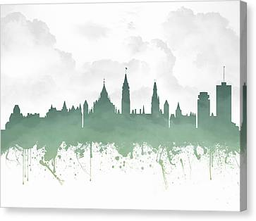 Ottawa Ontario Skyline - Teal 03 Canvas Print by Aged Pixel