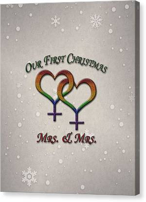 Our First Christmas Lesbian Pride Canvas Print by Tavia Starfire