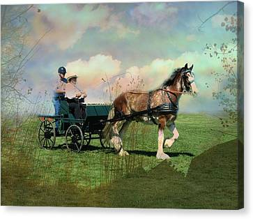 Out For A Trot Canvas Print by Shirley Sirois
