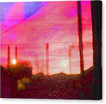 Out My Back Window 6 Am V3 Canvas Print by Lenore Senior