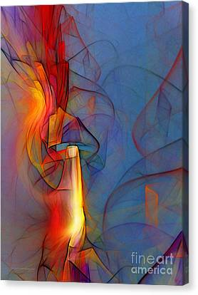 Out Of The Blue-abstract Art Canvas Print by Karin Kuhlmann