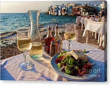Outdoor Cafe In Little Venice In Mykonos Greece Canvas Print by David Smith