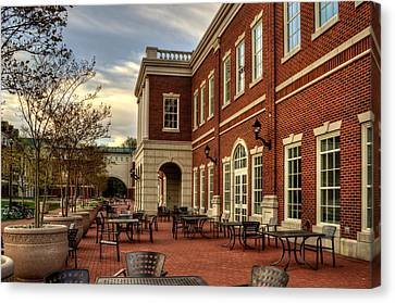 Outdoor Dining At The Courtyard Dining Hall Of Wcu Canvas Print by Greg and Chrystal Mimbs