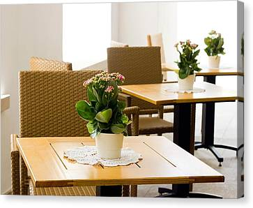 Outdoor Dining Tables Canvas Print by Pati Photography