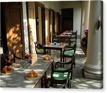 Outdoor Tables, Galle Fort Hotel Canvas Print by Panoramic Images