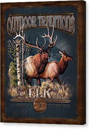 Outdoor Traditions Elk Canvas Print by JQ Licensing