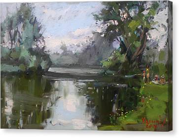 Outdoors At Hyde Park Canvas Print by Ylli Haruni