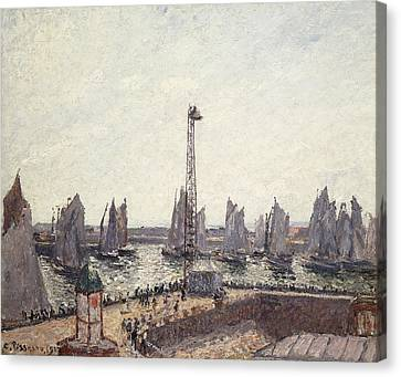 Outer Harbor And Cranes Le Havre Canvas Print by Camille Pissarro