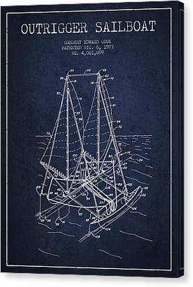 Outrigger Sailboat Patent From 1977 - Navy Blue Canvas Print by Aged Pixel