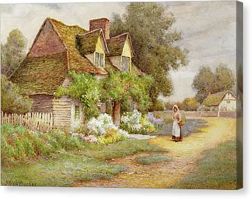 Outside The Cottage  Canvas Print by Ethel Hughes