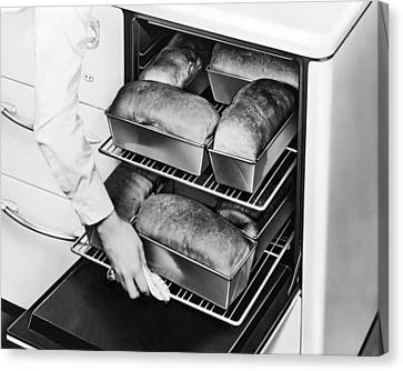 Oven Fresh Warm Bread Canvas Print by Underwood Archives