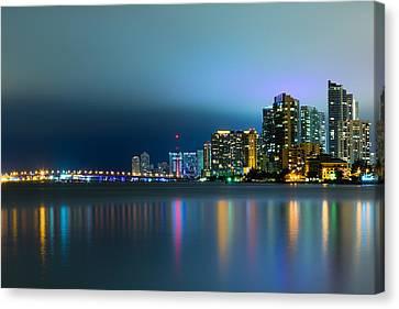 Overcast Miami Night Skyline Canvas Print by Andres Leon