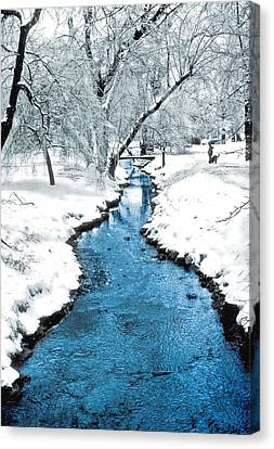 Overnight Snow In Edgemont Park Canvas Print by Kellice Swaggerty