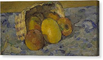 Overturned Basket Of Fruit, C.1877 Canvas Print by Paul Cezanne