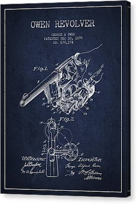 Owen Revolver Patent Drawing From 1899- Navy Blue Canvas Print by Aged Pixel