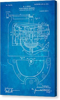 Owens Glass Shaping Machine Patent Art 3 1904 Blueprint Canvas Print by Ian Monk