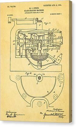 Owens Glass Shaping Machine Patent Art 3 1904 Canvas Print by Ian Monk