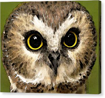 Owl Art - Night Vision Canvas Print by Sharon Cummings