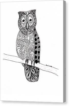 Owl On A Branch Canvas Print by Paula Dickerhoff
