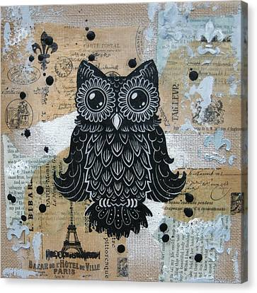 Owl On Burlap1 Canvas Print by Kyle Wood