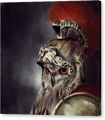 Owl Roman Warrior Canvas Print by Lourry Legarde