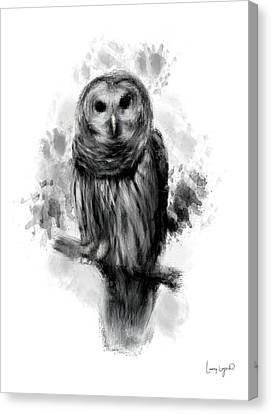 Owl's Portrait Canvas Print by Lourry Legarde