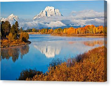 Oxbow Bend In Autumn Canvas Print by Guy Schmickle