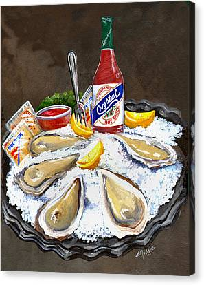 Oysters On Ice Canvas Print by Elaine Hodges