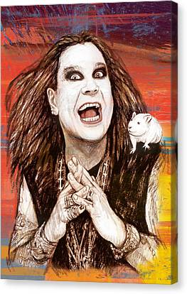 Ozzy Osbourne Long Stylised Drawing Art Poster Canvas Print by Kim Wang
