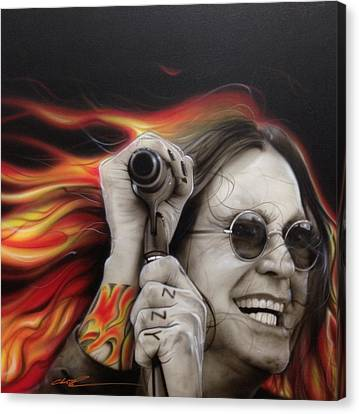 Ozzy Osbourne - ' Ozzy's Fire ' Canvas Print by Christian Chapman Art