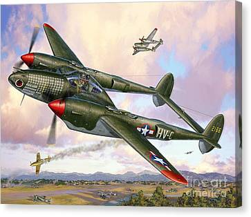 P-38f Lightning Sicilian Summer Canvas Print by Stu Shepherd