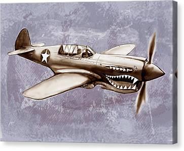 P 40 N Warhawk Airplane In World War 2 - Stylised Modern Drawing Art Sketch Canvas Print by Kim Wang